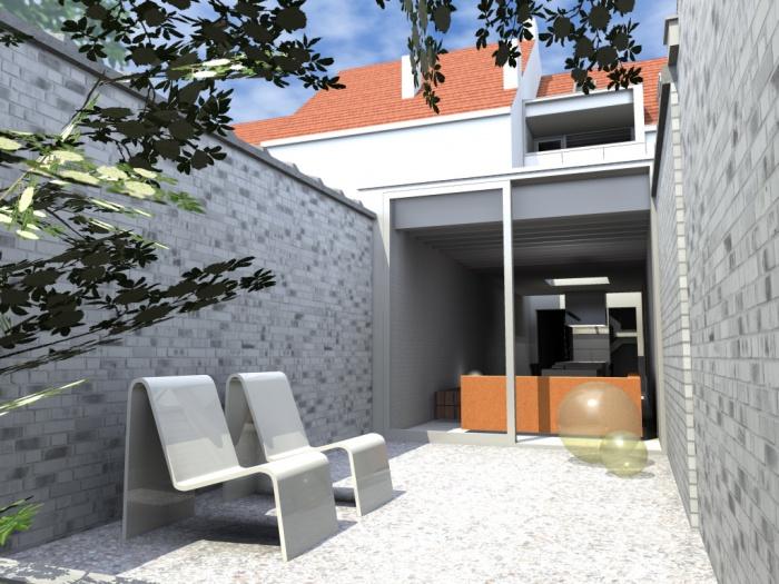 Pascal schneider architect architectuur for Moderne rijwoning